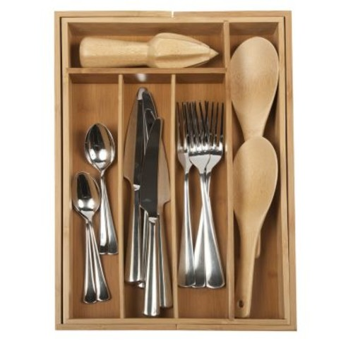 Core Bamboo Expandable Flatware Medium Tray in Natural