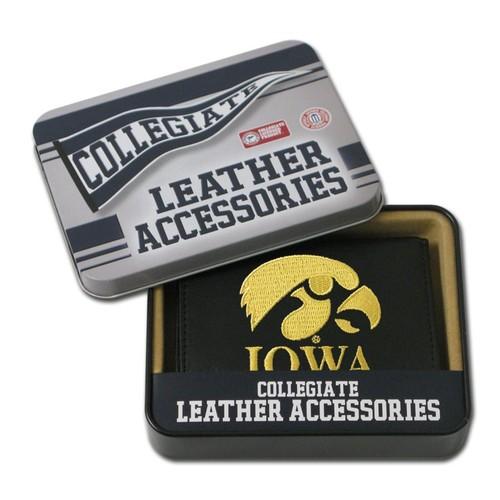 Rico Iowa Hawkeyes Men's Black Leather Tri-fold Wallet