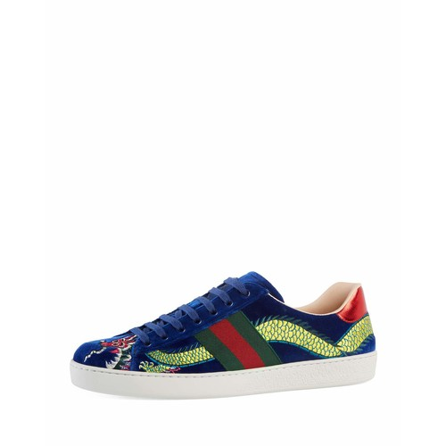 GUCCI Ace Embroidered Velvet Low-Top Sneaker, Blue