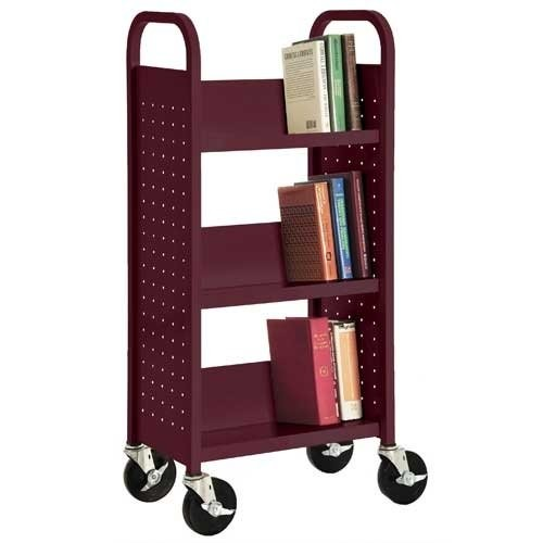 Sandusky Lee SL33017-03 Single Sided Sloped Shelf Book Truck, 14