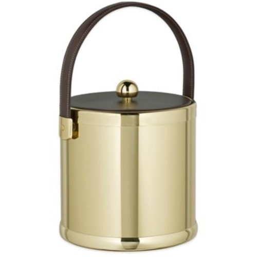 Kraftware Americano Polished Brass 3 qt. Ice Bucket with Leatherette Lid
