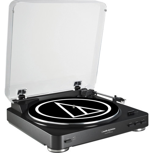 Audio Technica AT-LP60BK Fully Automatic Belt-Drive Stereo Turntable, Black [Black, AT-LP60]