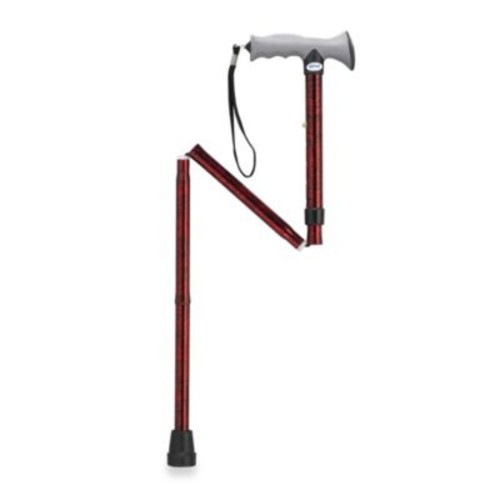 Drive Medical Aluminum Folding T-Handle Cane in Red/Black