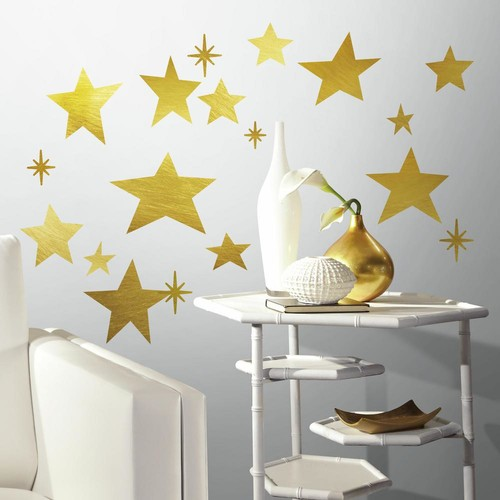 RoomMates 5 in. x 11.5 in. Star 33-Piece Peel and Stick Wall Decals with Foil
