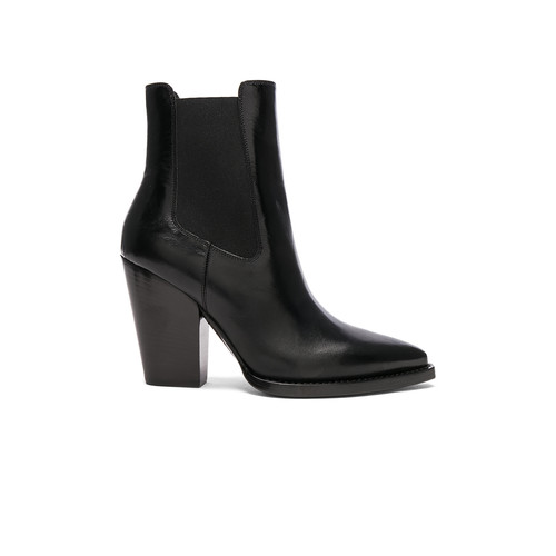Saint Laurent Leather Theo Heeled Chelsea Boots in Black