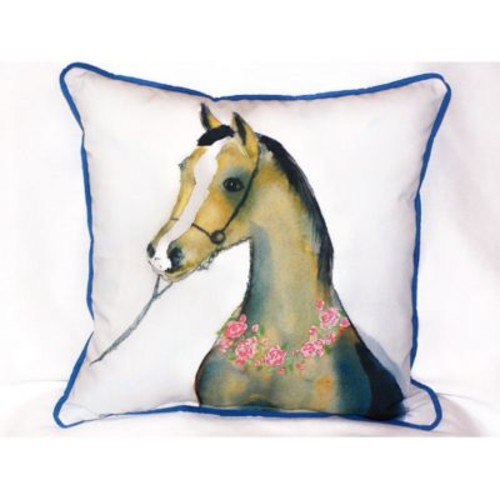 Betsy Drake Interiors Horse and Garland Indoor/Outdoor Throw Pillow