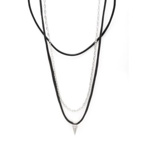 PEREPAIX - Leather and Chain Pendant Necklace