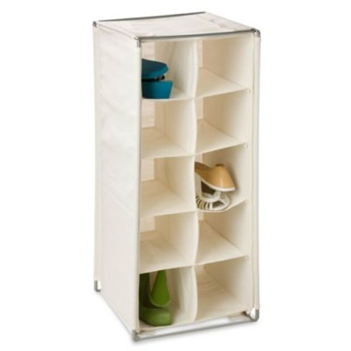Honey-Can-Do 10-Pair Canvas Shoe Rack in Beige