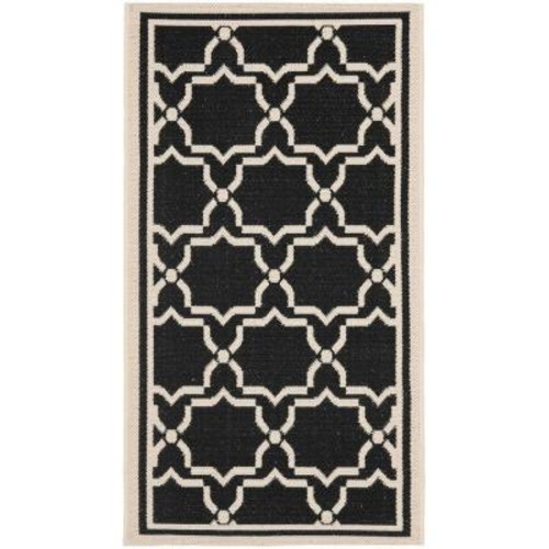 Safavieh Courtyard Black/Beige 2 ft. x 4 ft. Indoor/Outdoor Area Rug