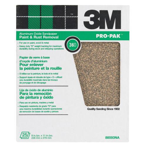 3M Pro-Pak Aluminum Oxide Sandpaper 11 in. L 60 Grit Medium 1 pc.(88591NA)