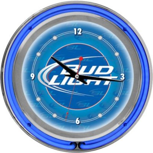 Trademark Global Chrome Analog Neon Wall Clock, Bud Light