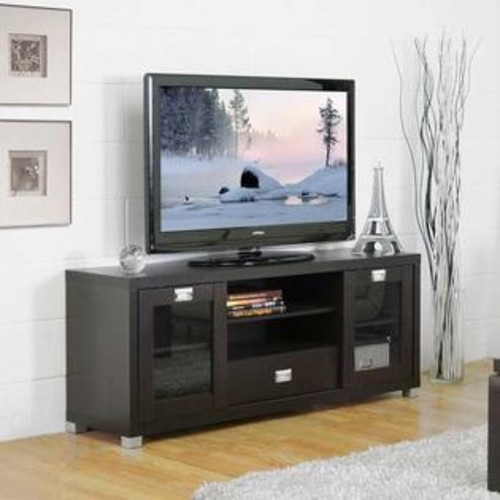 Baxton Studio Modern TV Stand with Glass Doors