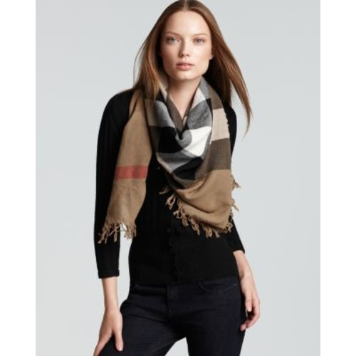 BURBERRY Color Check Wool Scarf