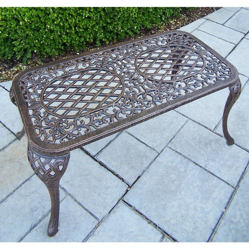 Dakota Cast Aluminum Settee Bench and Cocktail Table Set