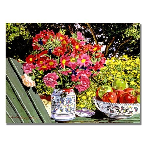 Apples and Flowers by David Lloyd Glover by David Lloyd Glover, 18x24-Inch Canvas Wall Art [18 by 24-Inch]