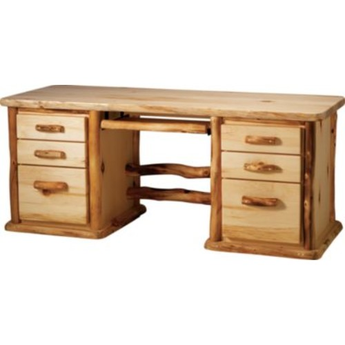 Mountain Woods Furniture Aspen 7-Drawer Desk [FINISH : PENCIL DRAWER - $2; STYLE : ROUND]