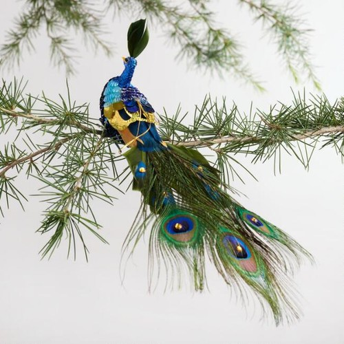 Sequined Peacock Clipon Ornament
