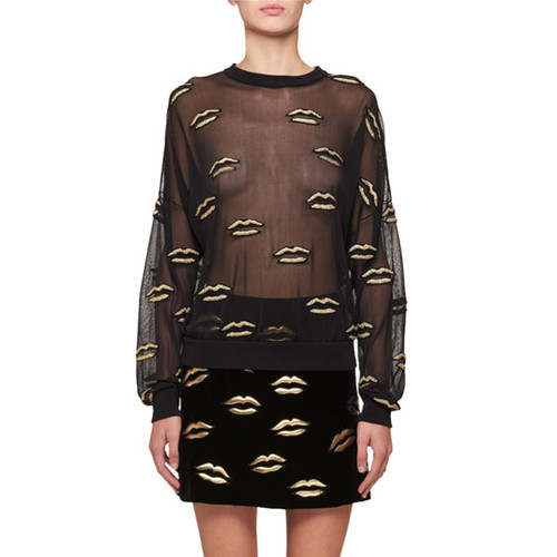 Long-Sleeve Lurex Lip Embroidery on Tulle Blouse