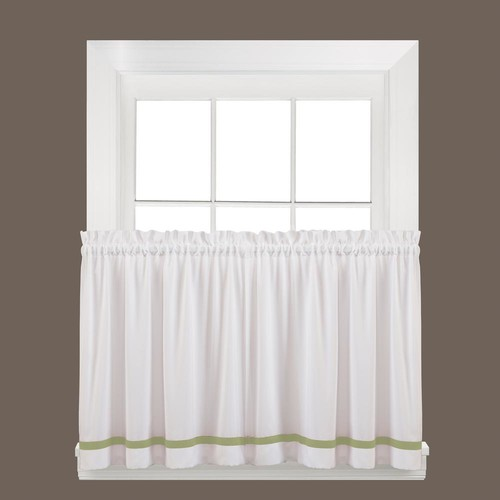 Saturday Knight Semi-Opaque Kate 36 in. L Polyester Tier Curtain in Sage (2-Pack)