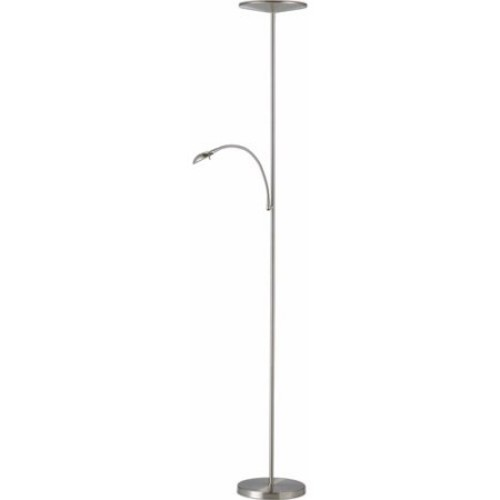 Adesso Pluto 24 W LED Combo Torchiere Floor Lamp, Satin Steel