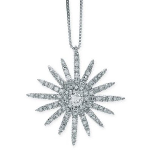 14K White Gold .60 cttw Diamond 18-Inch Chain Starburst Pendant Necklace