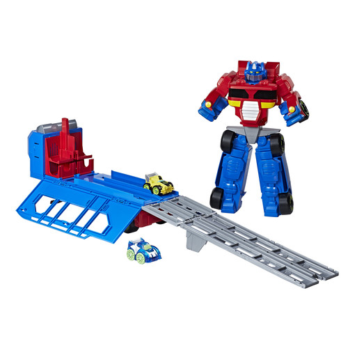Playskool Heroes Transformers Rescue Bots Flip Racers Optimus Prime Race Track Trailer Playset