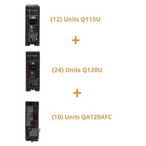 Siemens 15 Amp Single Pole (12-Pack), 20 Amp Single Pole (24-Pack), 20 Amp Single Pole AFCI (10-Pack) Circuit Breakers Bundle