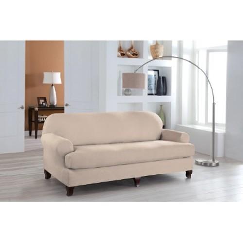 Serta Stretch Fit Microsuede Slipcover, Sofa, 2-Piece T Cushion