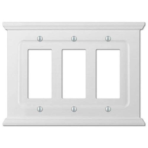 Amerelle Mantel Wood 3 Decora Wall Plate - White