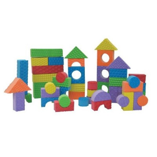Edushape Textured Brightly Colored Foam Building Blocks, Set of 80, Brights