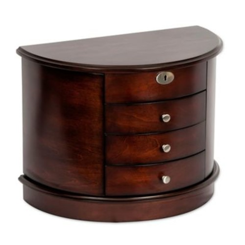 Mele & Co. York Wooden Jewelry Box in Dark Walnut