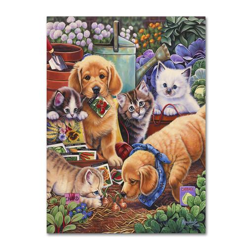 Jenny Newland 'Helpful Garden Paws' Canvas Art