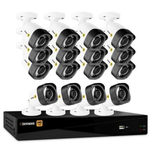 Defender 16-Channel HD 1080p 2TB DVR Security System and 16 Bullet Cameras Mobile Viewing