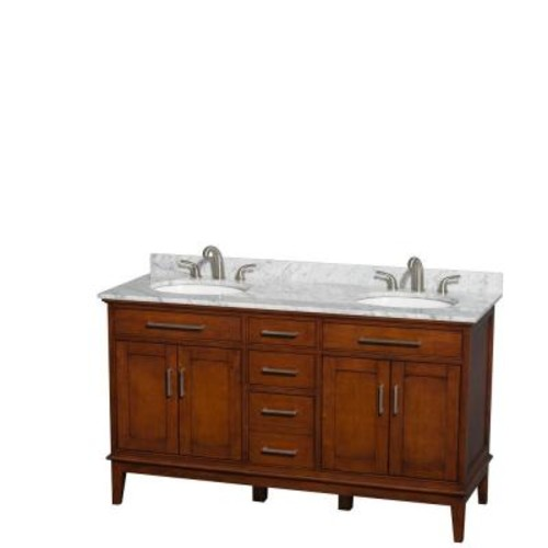 Wyndham Collection Hatton 60 in. Double Vanity in Light Chestnut with Marble Vanity Top in Carrara White and Oval Sinks