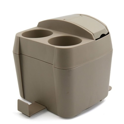 Home Office Vehicle Car Plastic Garbage Storage Container Cup Tissue Box Holder Beige