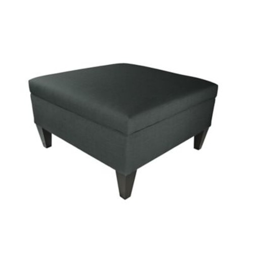 MJLFurniture Allure Legged Box Storage Ottoman; Charcoal