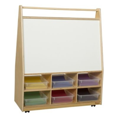 Wood Designs Double Sided 12 Compartment Book Display w/ Casters