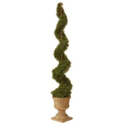 National Tree Company 60 in. Upright Juniper Artificial Spiral Tree with Decorative Urn