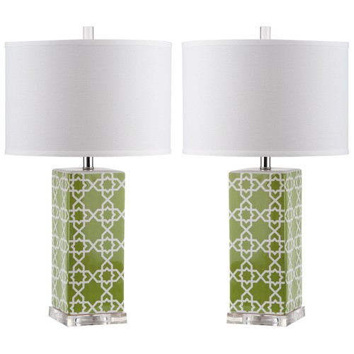 Set of Two Quatrefoil Table Lamps in Green design by Safavieh