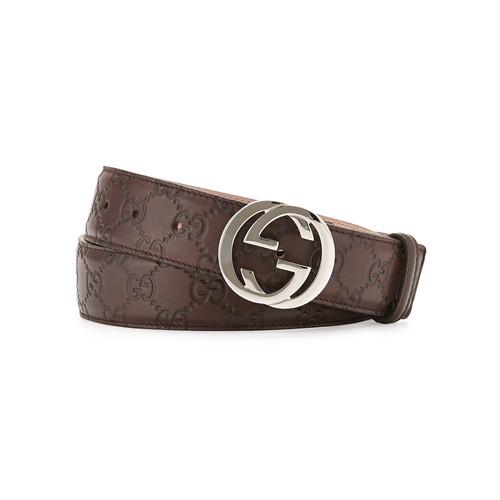 GUCCI Interlocking G-Buckle Leather Belt, Chocolate