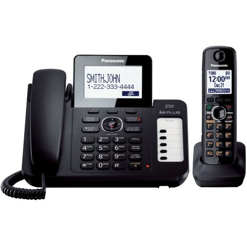 Panasonic KX-TG6671B DECT 6.0 Corded/Cordless Phone with Digital Answering System, Black, 1 Handset [1 Handset]