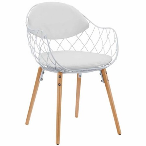 Modway Basket Metal Dining Chair in White White [White]