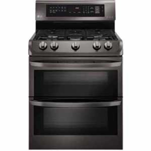 LG 6.9 cu. ft. Gas Double Oven Range with ProBake Convection and EasyClean - Black Stainless Steel