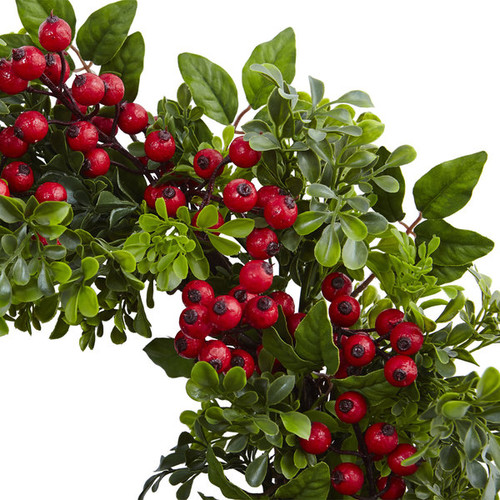Nearly Natural Berry Boxwood Green and Red Plastic 24-inch Wreath
