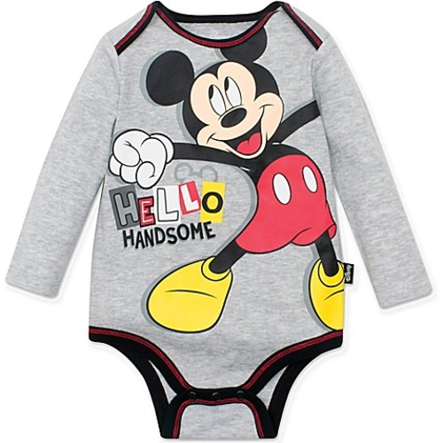 Disney Size 3M Mickey Mouse Hello Handsome Bodysuit in Grey
