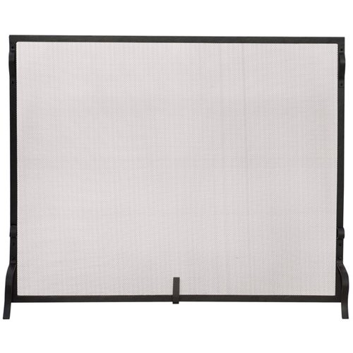 UniFlame Black Wrought Iron Large Single-Panel Sparkguard Fireplace Screen