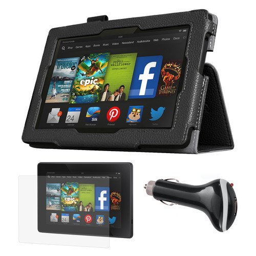 Mgear Accessories 97087771M Black Folio Case with Screen Protector and Car Charger for Kindle Fire HD 7