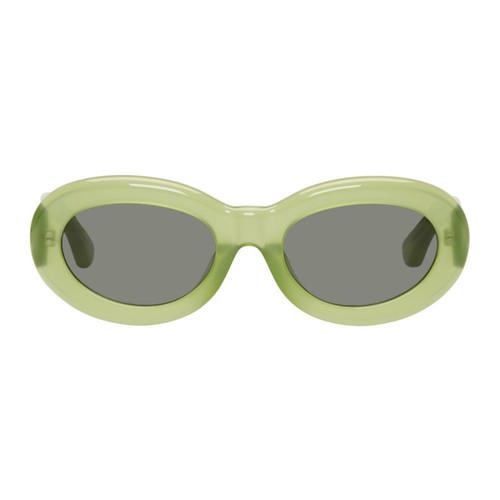 DRIES VAN NOTEN Green Linda Farrow Edition Oval 135 Sunglasses