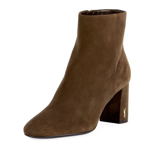 SAINT LAURENT Loulou Suede Logo-Heel Boot, Olive