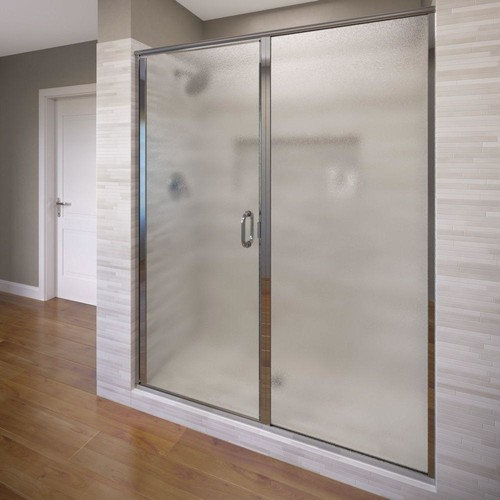 Basco Infinity 47 in. x 72-1/8 in. Semi-Frameless Hinged Shower Door in Silver with Clear Glass